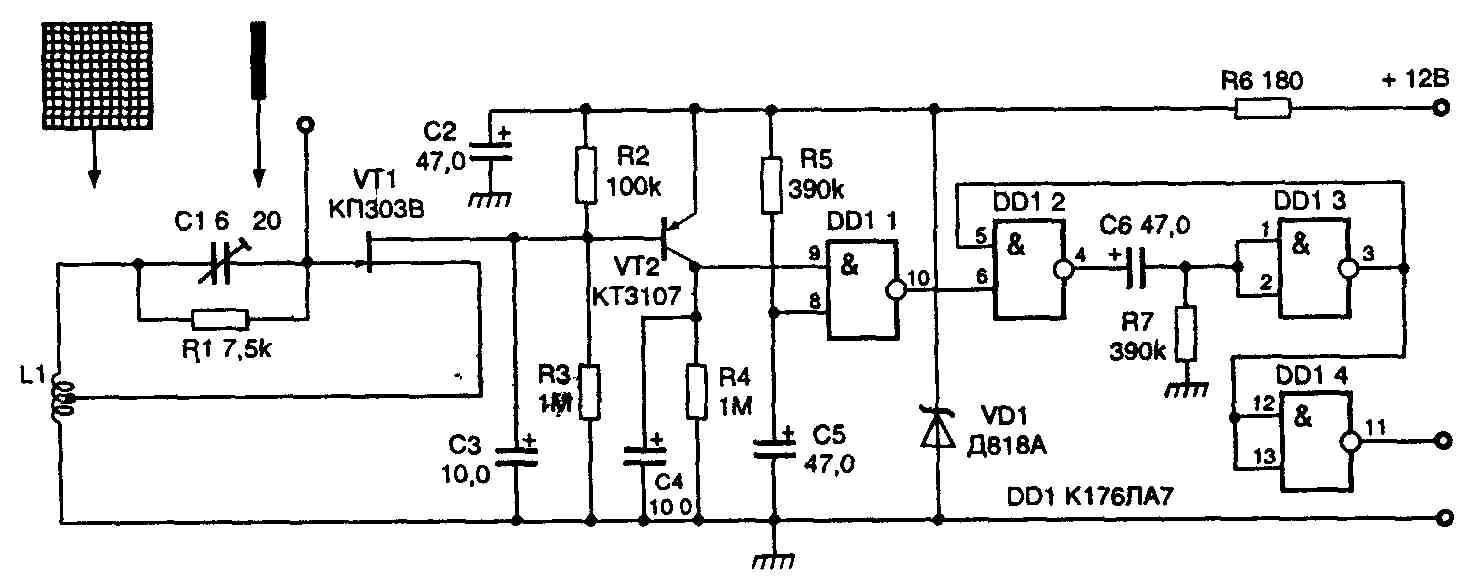 Емкостные датчики. Схемы простых емкостных реле сделанных